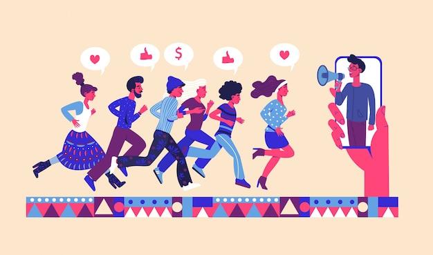 Poleć pomysł przyjaciela z grupą przyjaciół, którzy biegną, aby zadzwonić do megafonu. poleć program lojalnościowy przyjaciela.