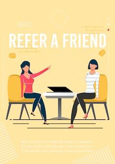 Poleć przyjacielowi motywacyjny plakat z tekstem promocyjnym