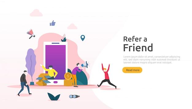Poleć strategię znajomego i koncepcję marketingu afiliacyjnego. ludzie dzielą się partnerstwem biznesowym polecającym i zarabiają pieniądze. szablon strony docelowej, baner, plakat, media drukowane