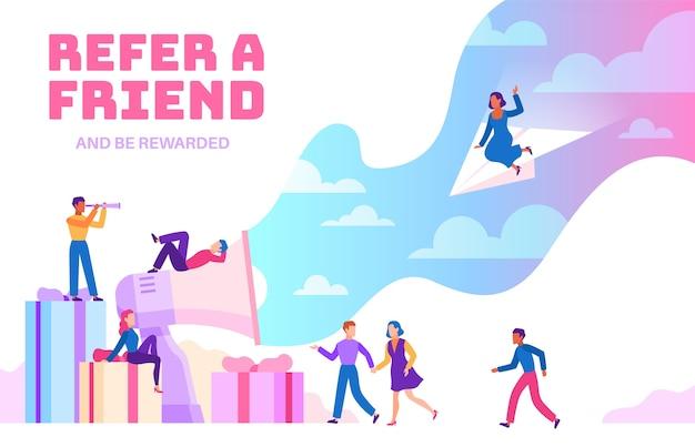 Poleć znajomego. przyjaźni ludzie z megafonem polecający nowych użytkowników. program rekomendacji biznesowych. młody, o którym mowa w tle biznesmen finansów