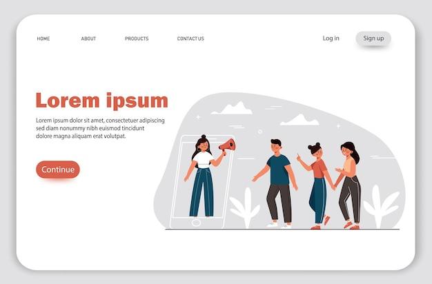 Poleć znajomemu marketing polecający metodę promocji online grupę lub klientów trzymających się za ręce i spacerujących w gigantycznym smartfonie