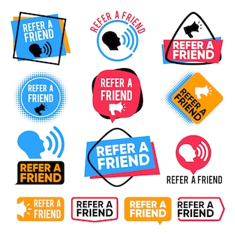 Poleć znajomemu. polecenie, przyjaciele zakupy uwaga marketingowa wektor odznaki z megafonem
