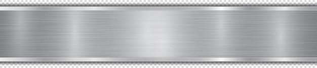 Polerowany talerz w srebrnym kolorze z metalową fakturą, odblaskami i błyszczącymi krawędziami. z cieniem na przezroczystym tle
