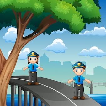 Policja dyżurująca na autostradzie