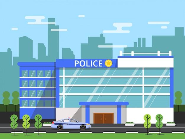 Policja lub departament bezpieczeństwa. zewnątrz budynku komunalnego.