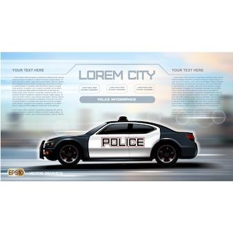 Policja samochód wzór tła