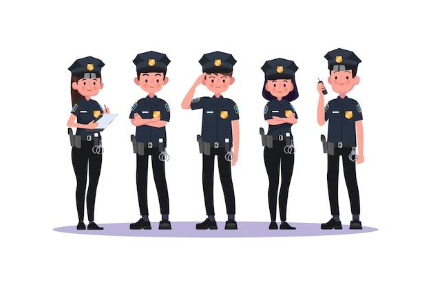 Policja w mundurze. policjant i policjantka, policjanci. ilustracja.