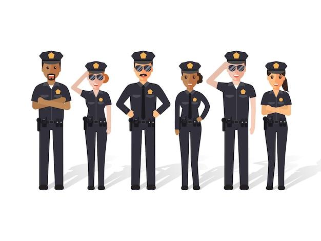 Policjanci i kobiety.