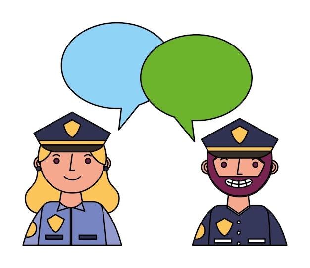 Policjanci policjanci para znaków z dymki
