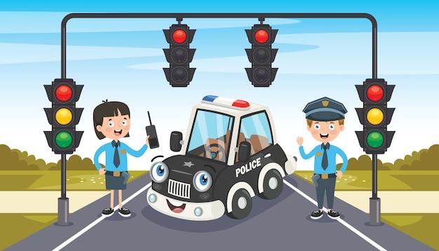 Policjanci pozuje z śmiesznym samochodem