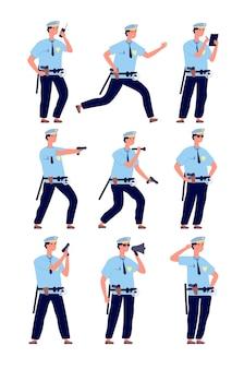 Policjant. amerykański oficer ochrony, patrol policji w mundurze z bronią.