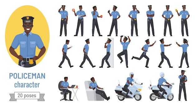 Policjant czarny african american oficer człowiek różne pozach zestaw gestów.