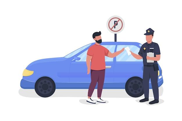 Policjant daje parking grzywny pół płaskie kolorowe postacie wektorowe całe ciało ludzi na białym tle
