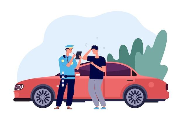Policjant i kierowca. inspektor samochodowy wypisuje mandat za przekroczenie prędkości przez intruza