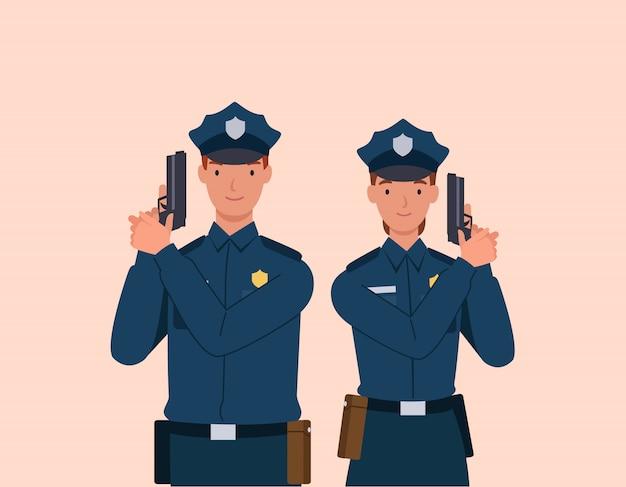 Policjant i kobieta z pistoletem.