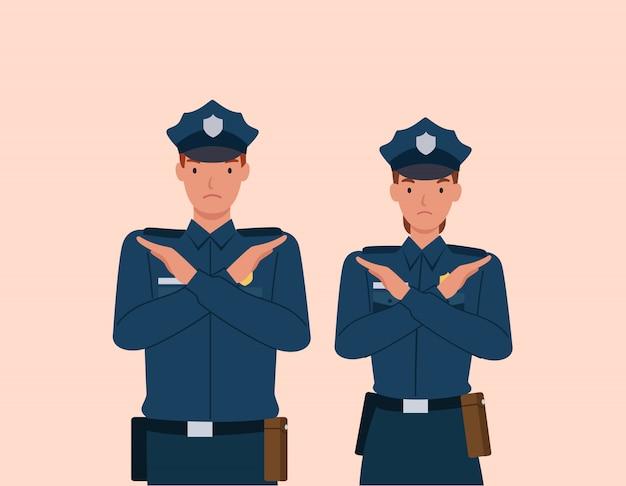Policjant i kobieta z skrzyżowanymi rękami gest. znak stop rękami i negatywnym wyrazem.
