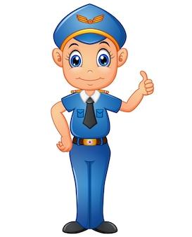 Policjant kreskówka daje kciukowi up