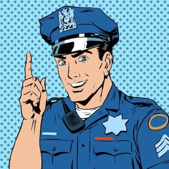 Policjant ostrzega zwraca uwagę zawodu uśmiech prawa i lub
