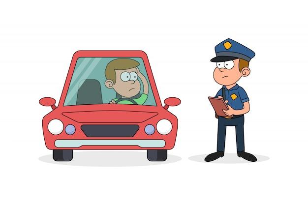 Policjant pisze karę grzywny dla kierowcy