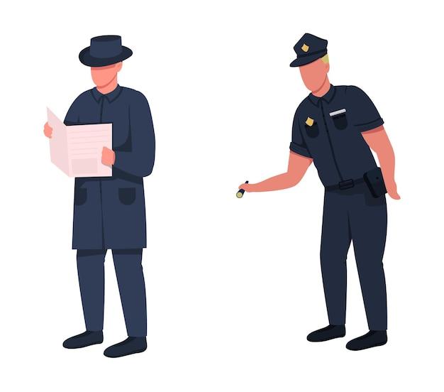 Policjant płaski kolor ilustracja zestawu znaków bez twarzy