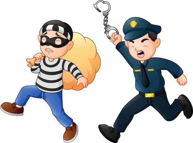 Policjant próbuje ścigać złodzieja