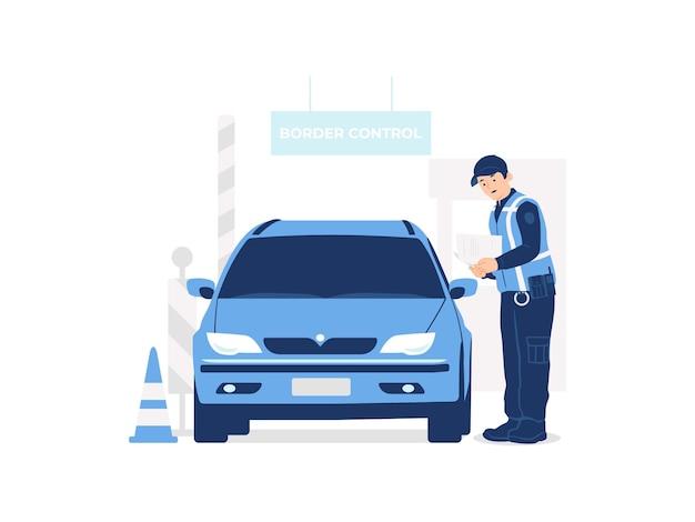 Policjant sprawdzający samochód w celu sprawdzenia dokumentów na ilustracji koncepcji przejścia granicznego