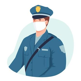 Policjant w masce medycznej.