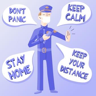 Policjant w masce z krótkofalówką wyciąga rękę w geście stóp i udziela wskazówek na temat przetrwania w epidemii koronawirusa. kolorowa stylowa ilustracja z chmurami dla replik.