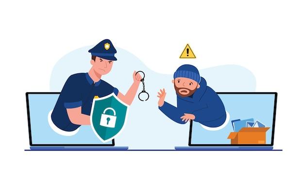 Policjant z kajdankami, aby złapać złodzieja na ekranie komputera, abstrakcyjne dane cyfrowe ochrony bezpieczeństwa z danymi kradzieży, koncepcja bezpieczeństwa danych, izolowane mieszkanie