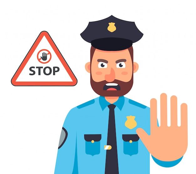 Policjant z ręką zatrzymuje ruch. znak stop w trójkącie. ilustracja płaski charakter.