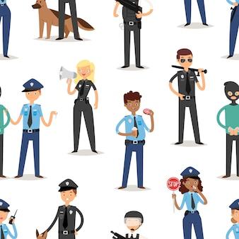 Policjantów charakterów kreskówki mężczyzna pilice śmiesznej osoby munduru policjanta pozyci ochrony ilustracyjnego bezszwowego deseniowego tła ludzie