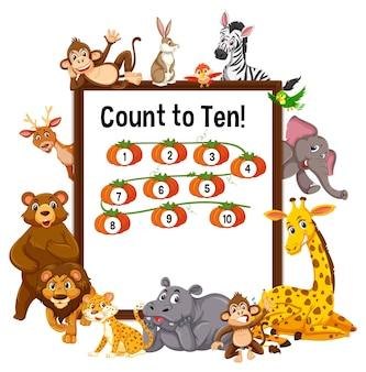 Policz do dziesięciu planszy z dzikimi zwierzętami