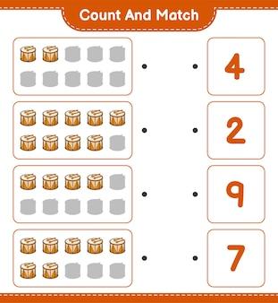 Policz i dopasuj, policz liczbę bębnów i dopasuj właściwe liczby.