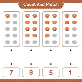 Policz i dopasuj policz liczbę ciastek i dopasuj właściwe liczby