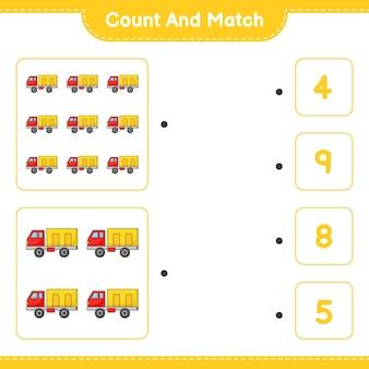 Policz i dopasuj policz liczbę ciężarówek i dopasuj właściwe liczby