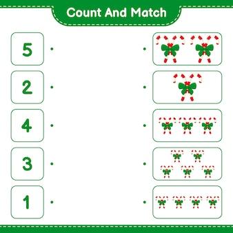 Policz i dopasuj, policz liczbę cukierków ze wstążką i dopasuj do odpowiednich liczb. gra edukacyjna dla dzieci