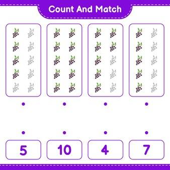 Policz i dopasuj, policz liczbę czarnego bzu i dopasuj do odpowiednich liczb. gra edukacyjna dla dzieci, arkusz do druku