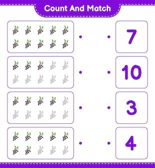 Policz i dopasuj, policz liczbę czarnego bzu i dopasuj do odpowiednich liczb. gra edukacyjna dla dzieci, arkusz do druku.