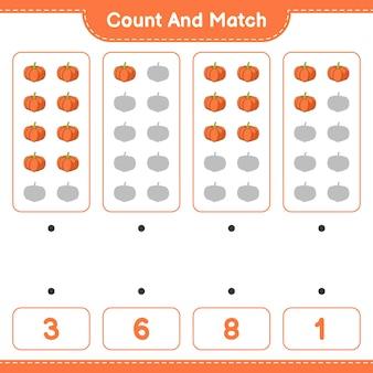 Policz i dopasuj policz liczbę dyni i dopasuj właściwe liczby