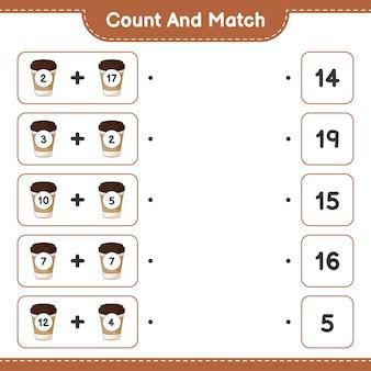Policz i dopasuj policz liczbę filiżanek herbaty i dopasuj właściwe liczby