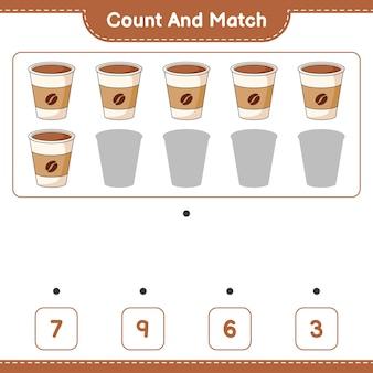 Policz i dopasuj policz liczbę filiżanek kawy i dopasuj właściwe liczby