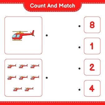 Policz i dopasuj policz liczbę helikopterów i dopasuj właściwe liczby