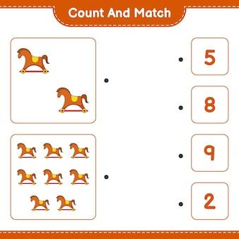 Policz i dopasuj policz liczbę koni na biegunach i dopasuj właściwe liczby