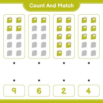 Policz i dopasuj policz liczbę książek i dopasuj właściwe liczby