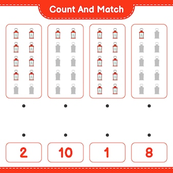 Policz i dopasuj policz liczbę latarni i dopasuj właściwe liczby