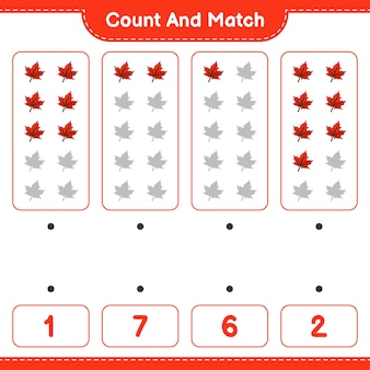 Policz i dopasuj policz liczbę liści klonu i dopasuj właściwe liczby