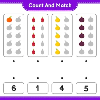 Policz i dopasuj, policz liczbę owoców i dopasuj do odpowiednich liczb. gra edukacyjna dla dzieci, arkusz do druku