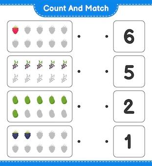 Policz i dopasuj, policz liczbę owoców i dopasuj do odpowiednich liczb. gra edukacyjna dla dzieci, arkusz do druku.