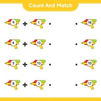Policz i dopasuj, policz liczbę pistoletów na wodę i dopasuj odpowiednie liczby. gra edukacyjna dla dzieci, arkusz do druku