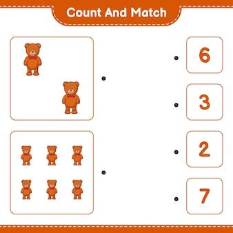 Policz i dopasuj policz liczbę pluszowego misia i dopasuj odpowiednie liczby